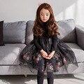 Impreso floral mesh patchwork vestido para niñas elegancia niños niñas princesa vestido largo negro blanco poco chicas adolescentes ropa