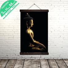 Bronze and Silver Buddha Scroll Painting Canvas Vintage Poster Prints Wall Art Pictures Bedroom Farmhouse Decoration