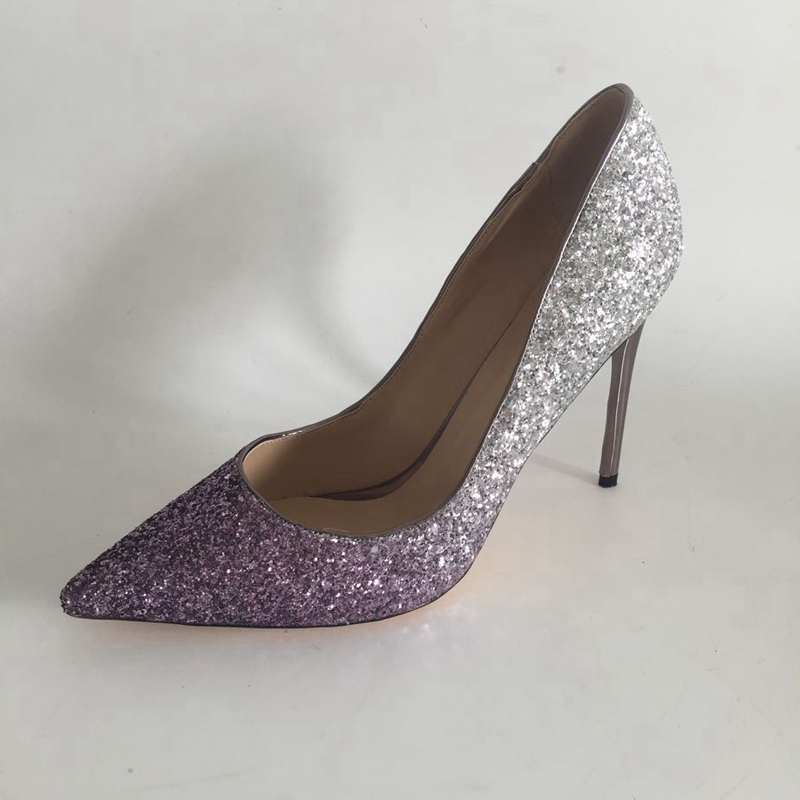 Purple Silver Glitter Pointed Toe Women Pump Shoes Stilettos High Heels Slip-on Party Shoes Rubber Sole Female Pumps Heels orange pointed toe pump women shoes sexy slip on women pumps real image thin high heels ol pump shoes large size 8 heels