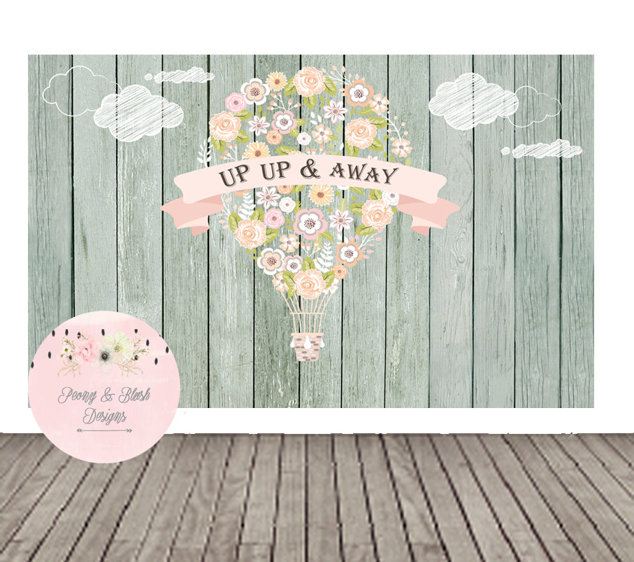 custom Hot Air Balloon Theme Baby Shower Clouds Wood Birthday background High quality Computer print party photo backdrop