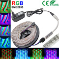 rgb strip led 5m/lot  3528 non-waterproof SMD12V tapes flexible light  led/m, LED strip RGB + mini 3key controller+2A adapter