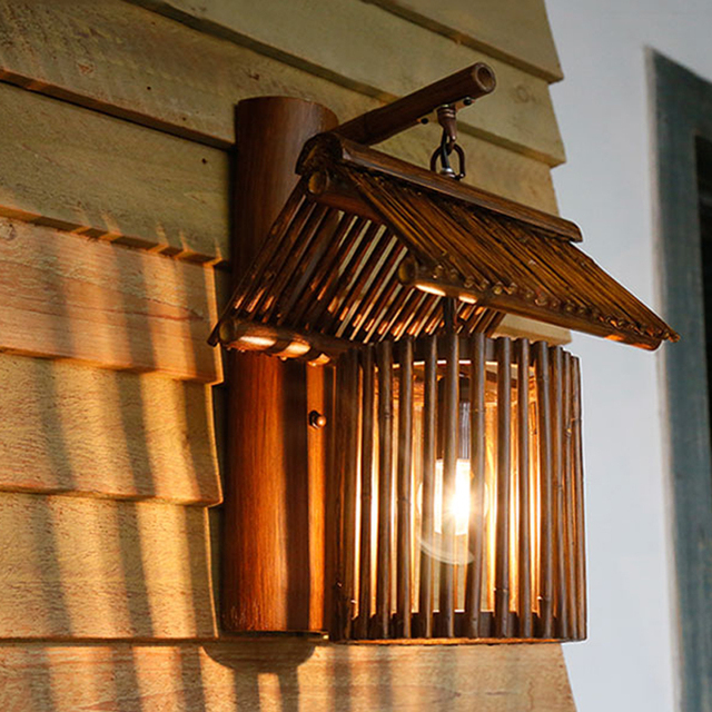 Chinese Styl Bamboo Roof Wall Lamps Vintage Barn Lantern Rustic Wall Sconces  Lighting E27 LED Lamp