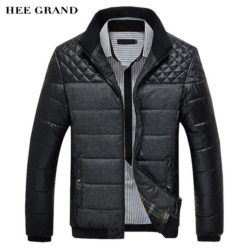 ФОТО HEE GRAND Jacket For Men 2017 New Arrival Parka Men Casual Stand Collar Cotton Slim Patchwork Jaqueta Masculino M-4XL MWM912