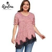 AZULINA Plus Size Shredding Lace Trim T Shirt Women Top Tee Short Sleeve V Neck Casual