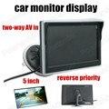 Alta calidad prioridad inversa 2 canales de entrada de vídeo recién llegado 5 pulgadas TFT LCD Monitor del coche cámara trasera de respaldo