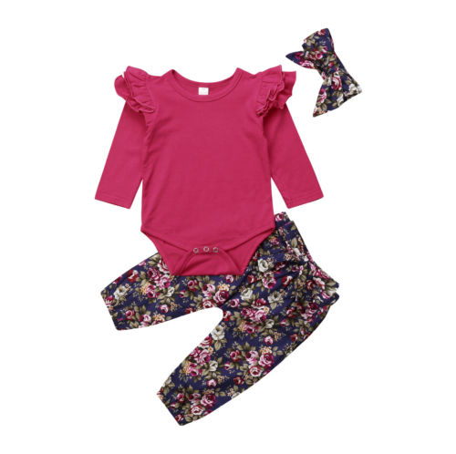 Infant Baby Girl  Clothes Long Sleeve Ruffles Romper Tops+Floral Print Pants+Headband clothes set