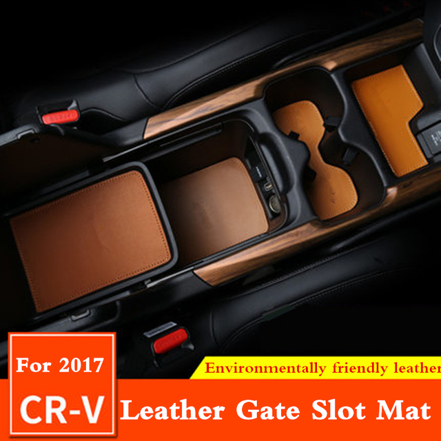 21 PCS Leather PU Gate Slot Mat groove pad cup mat storage mat Anti Slip Mat For Honda CR V CRV 2017 2018 Car Styling Interior