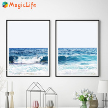 Blue Sea And Sky Nordic Landscape Decor Wall Art Canvas Painting Beach Posters Sandy beach Pictures Unframed