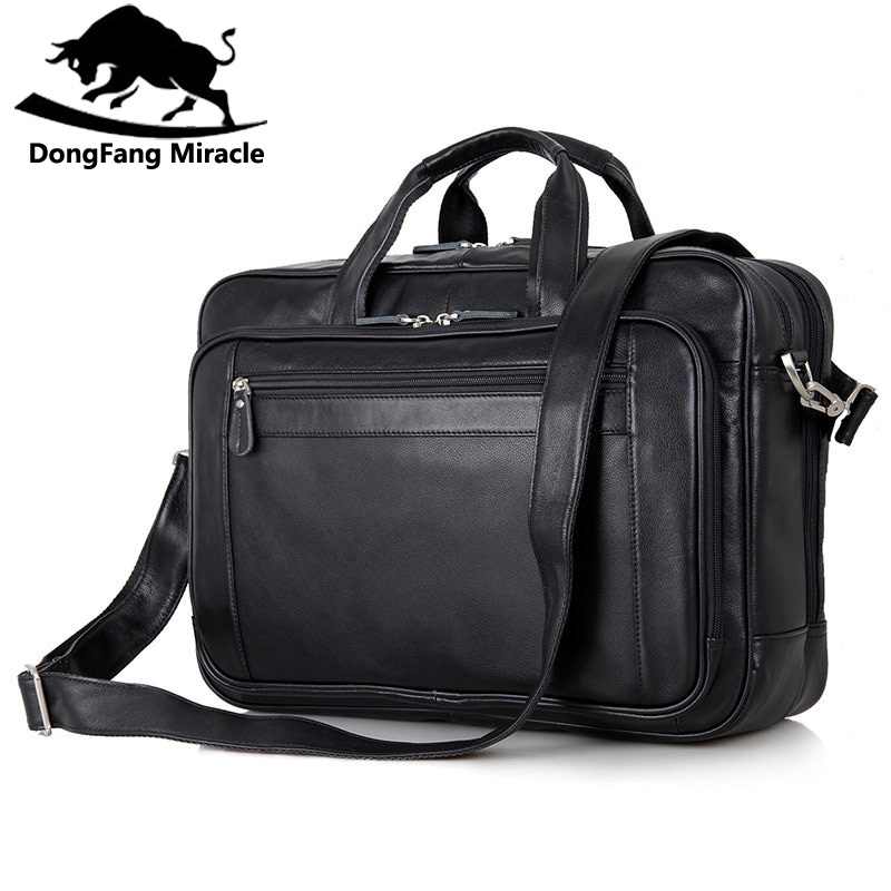 Genuine Leather Men's Messenger Bag Business Large Capacity Men Handbag should bags 17 inch laptop travel bag