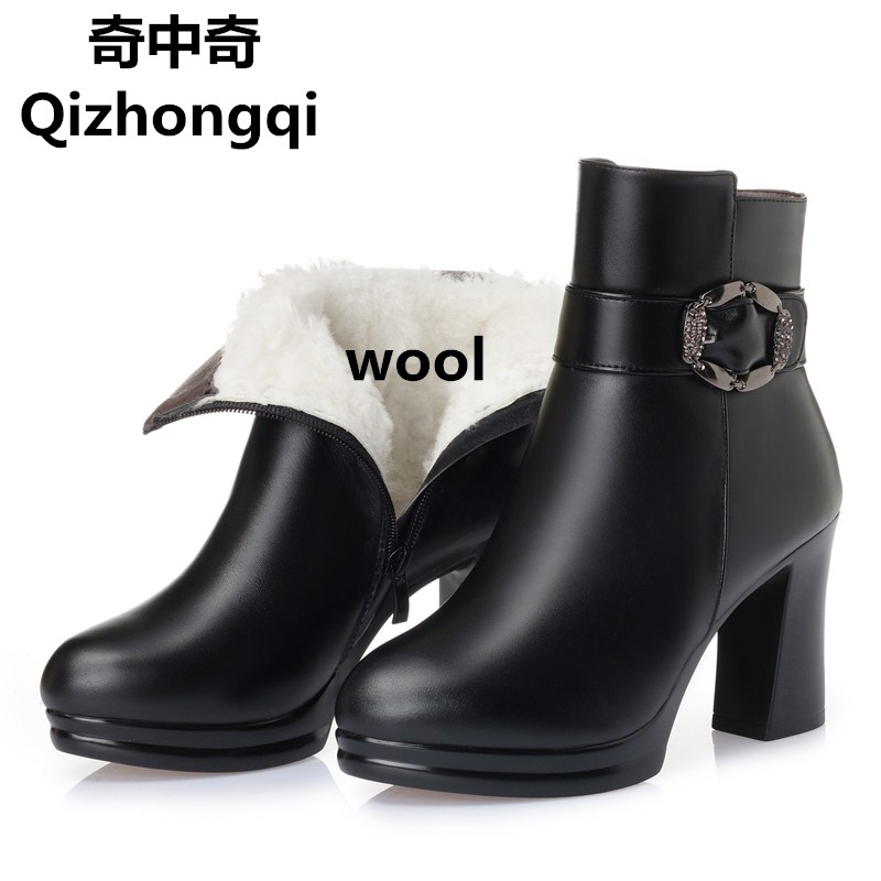 2017 Winter new genuine leather women boots warm cotton shoes sexy wool lining snow boots high-heeled fashion female boots цены онлайн