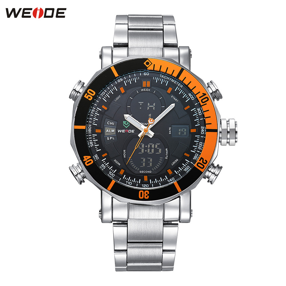 Original WEIDE 30m Waterproof Sport Watch Men Digital Quartz Watch Orange Full Steel Band Alarm Military Wristwatch Montre Homme weide original brand sports military watch men fashion quartz wrist watch pu band 30m waterproof multifunctional sale items