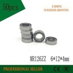 Бесплатная доставка, 50 шт., высокое качество, модель mr126zz L-1260ZZ 6x12x4 мм, Φ P6, радиальный шарикоподшипник