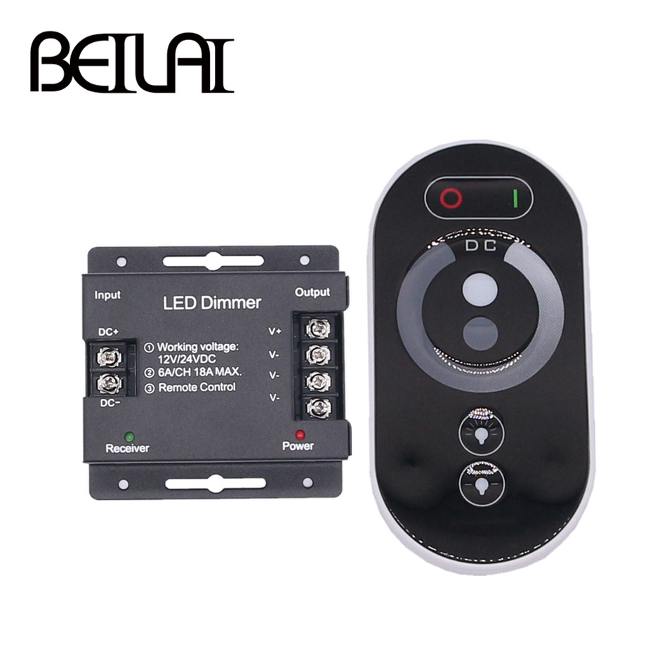 BEILAI DC 12-24V 6A/CH 3Channel Single Color Black RF LED Controller Full Touch Remote Controller For LED Strip Light
