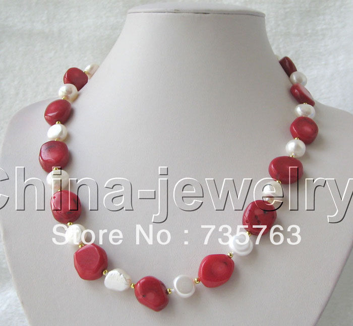 xiuli 00721 Beautiful 19″ 12mm natural white FW pearl & 17mm red coral necklace Chains Bridal Jewelry momen
