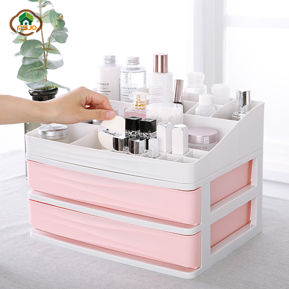 Msjo Makeup Organizer Plastic Cosmetic Drawer Makeup Storage Box Desktop Display Stand Rack Holder Organizer For Cosmetic Box