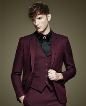 Burgundy Mens Slim Fit Grooming Suits Fashion Latest Male Casual Tuxedo 3 Pieces Jacket Pants Men Custom Made Dinner