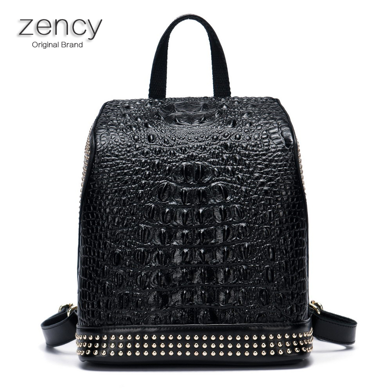 ZENCY Famous Brands Crocodile Pattern Backpack Genuine Leather Second Layer Cowhide Nappa Leather Women Backpack School