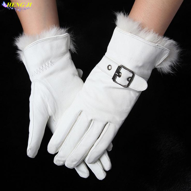 white leather gloves women Genuine Leather Cotton lining Adult Winter female leather gloves Women warm gloves