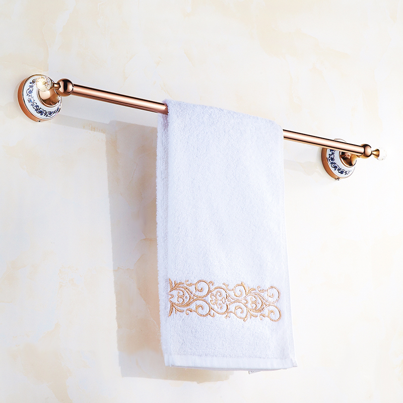 ФОТО 1 Pcs European Rose Copper  Bathroom Single Towel Bar Racks Holders Bathroom Accessories Blue and White Porcelain