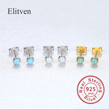 Elitven Turquoise Geometric Stud Earrings for Women Real S925 Sterling Silver earrings Jewelry korean earrings 2019