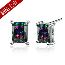 2017 New Crystal From Swarovski Earrings For women 925 Jewelry fashion Ocean Blue Rose Gold Hook Brincos Boucle(China)