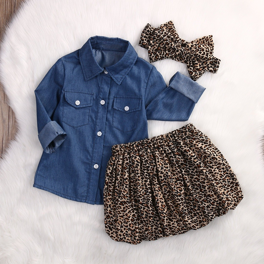 d5ea4a2ed43 3PC 2017 Autumn Casual Toddler Baby Girls Clothing Set Long Sleeve Denim+Leopard  skirt+