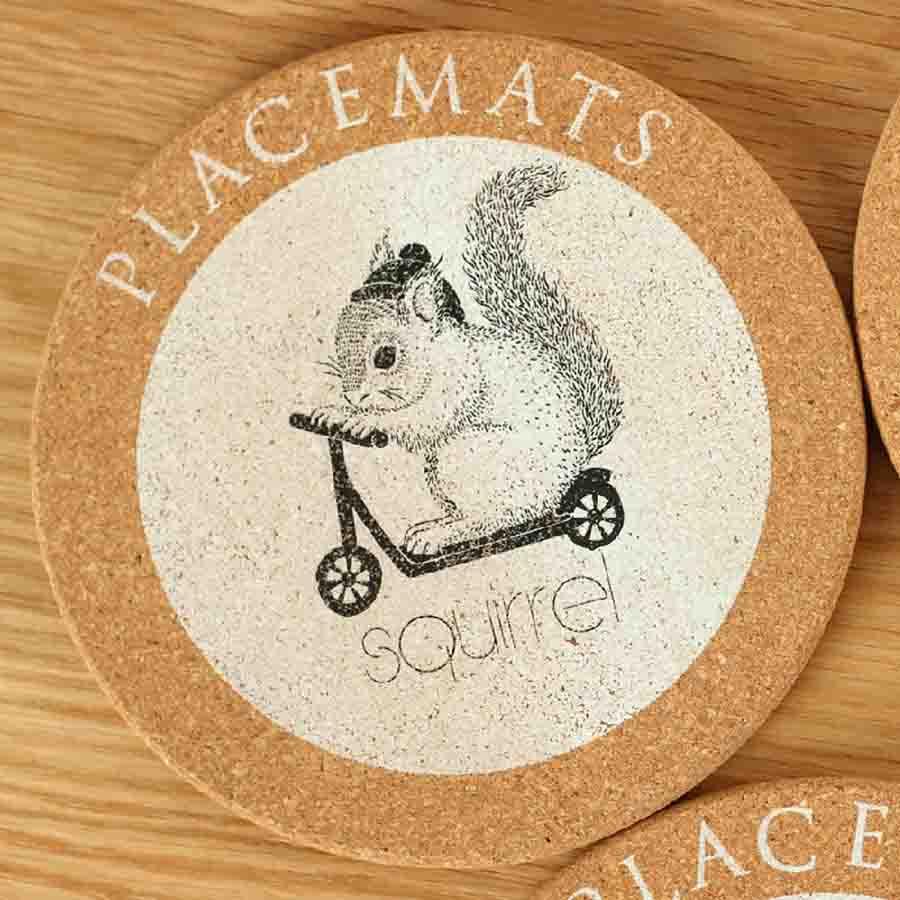4Pcs/Lot Kitchen Decorative Table Mats Animal Round Cork Pads ...