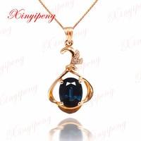 Donkerblauw Kleur sieraden Vrouwen 18 k rose goud ingelegd 100% natuurlijke Saffier hanger ketting mode-accessoires