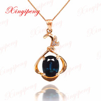dark blue Color jewelry Women 18 k rose gold inlaid 100% natural Sapphire pendant necklace fashion accessories