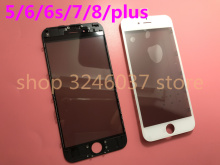 10pcs 4 in 1 Original cold press For iPhone 6 6s 7 8 plus 5 5S 5C front Glass+Frame+oca polarizer together screen outer glass