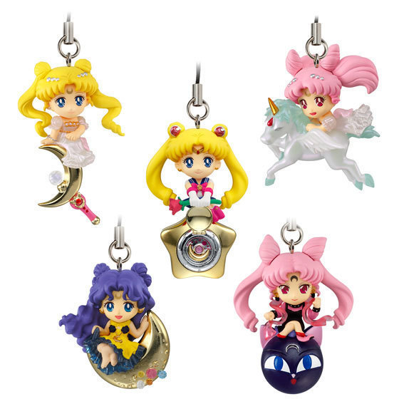 5 Pcs/Set Comic Soldier Sailor Moon Girl Warrior Luna Cat Stars Unicorn Q Edition Pendant Ice Cafe Action Figure Dolls Pendant