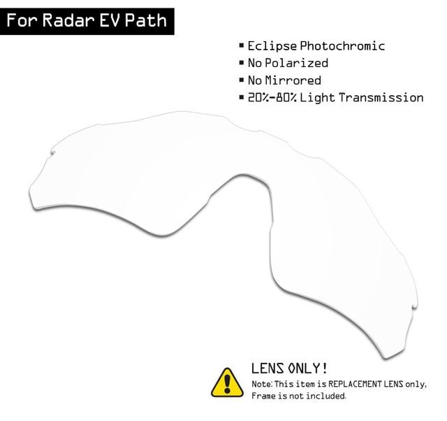 SmartVLT عدسات استبدال النظارات الشمسية لرادار أوكلي EV مسار الكسوف رمادي فوتوكروميك