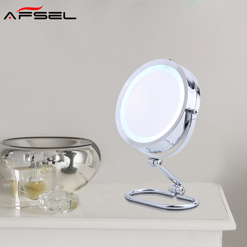 AFSEL Brand 7 Inch LED Table Mirror Double Sided Makeup Mirror Lighted Cosmetic Mirror 5X/10x Magnification AAA Battery HD alhakin 7 inch led table mirror silver chrome uv finish 10x magnification d710 makeup mirrors cosmetic beauty with ce approved