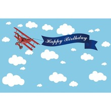 Laeacco Happy Birthday Blue Sky White Clouds Plane Portrait Stage Scene Photo Background Photographic Backdrop For Studio
