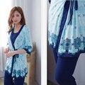 MamaLove 3 unids Materinty pijamas pijama a cuadros de enfermería conjunto de Maternidad Del Verano ropa de noche para Las Mujeres Embarazadas Pijamas Trajes