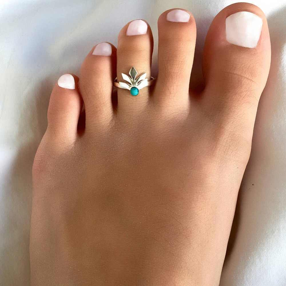 Summer Simple Vintage Accessorie Gold/Silver Alloy Flower Bud Toe Ring Opening Adjustable Metal Lotus Beach Finger Foot Ring