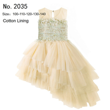Free Shipping Brand HG Princess 2019 New England Style Girl Party Dress Champagne Children Dresses Long Train Kids Evening Gowns