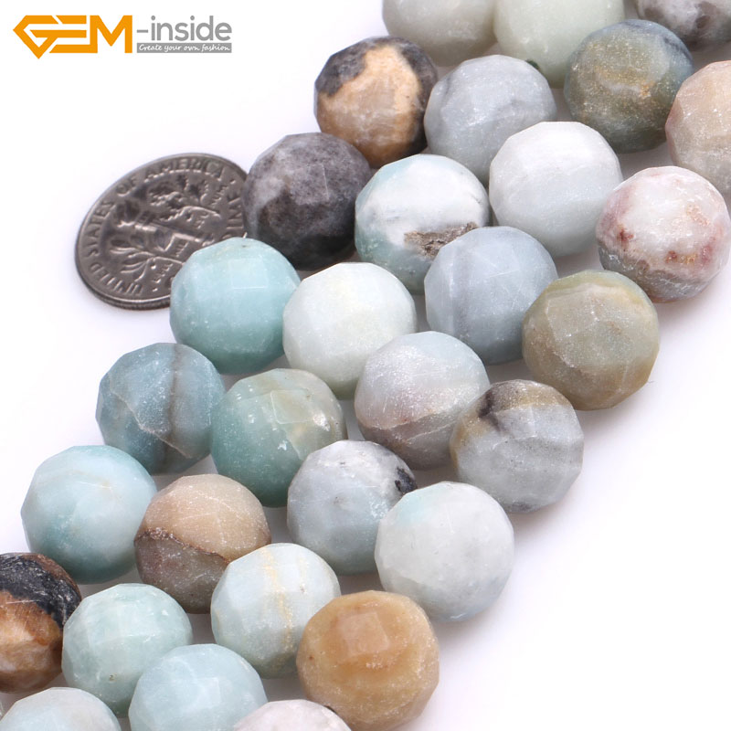Gem-inside Natural Round Frosted Matte Faceted Amazonite Stone Beads For Jewelry Making 15 DIY Jewellery