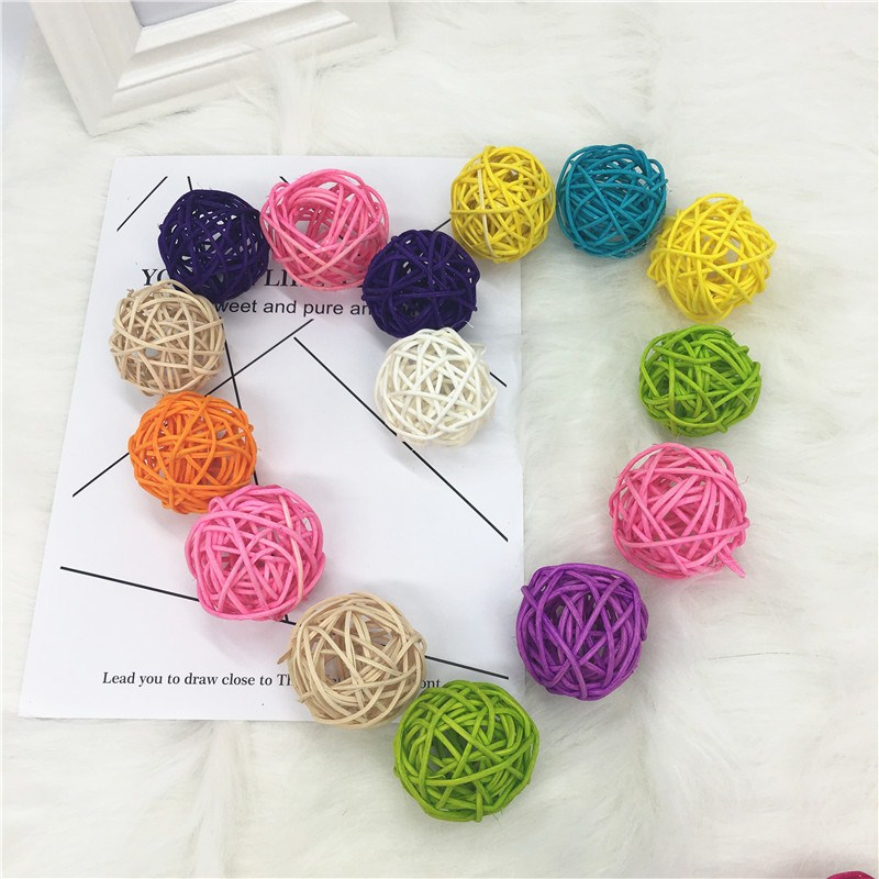 20pcs 14pcs 7pcs Multicolor Rattan Ball DIY Ornaments Wicker Sepak Takraw Ball DIY Wedding Party Home Christmas Decoration in Ball Ornaments from Home Garden