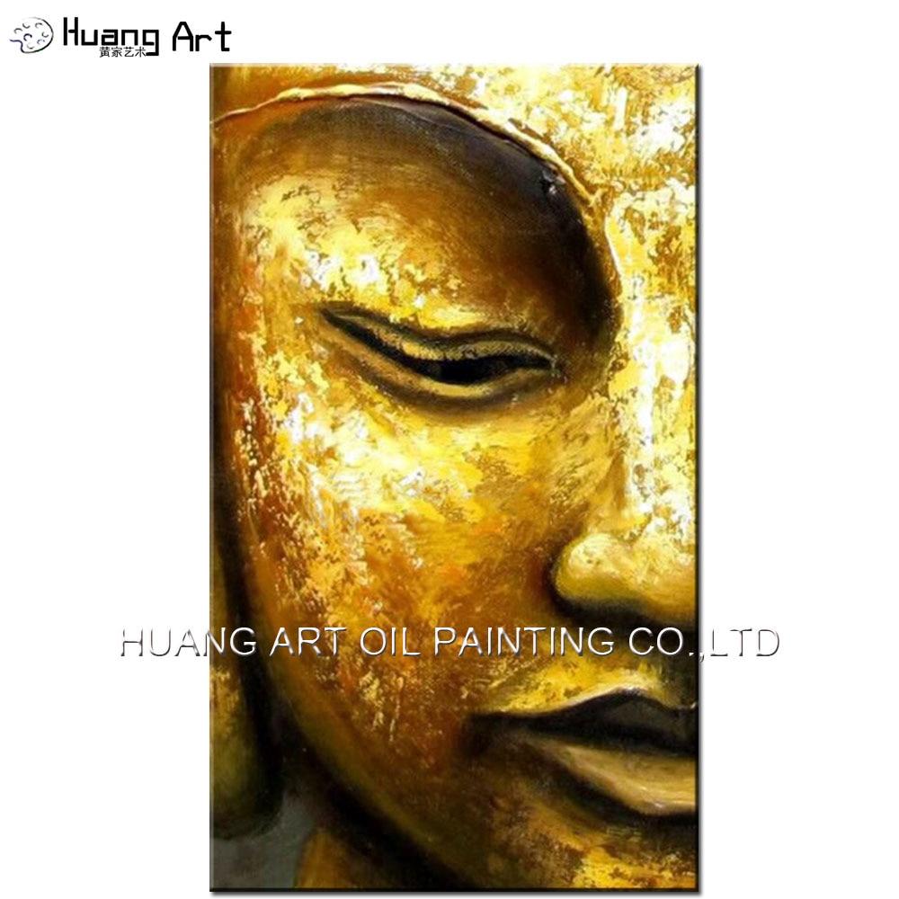 100 % 수제 현대 황금 노란색 부처님 반 얼굴 유화 - 가정 장식 - 사진 1