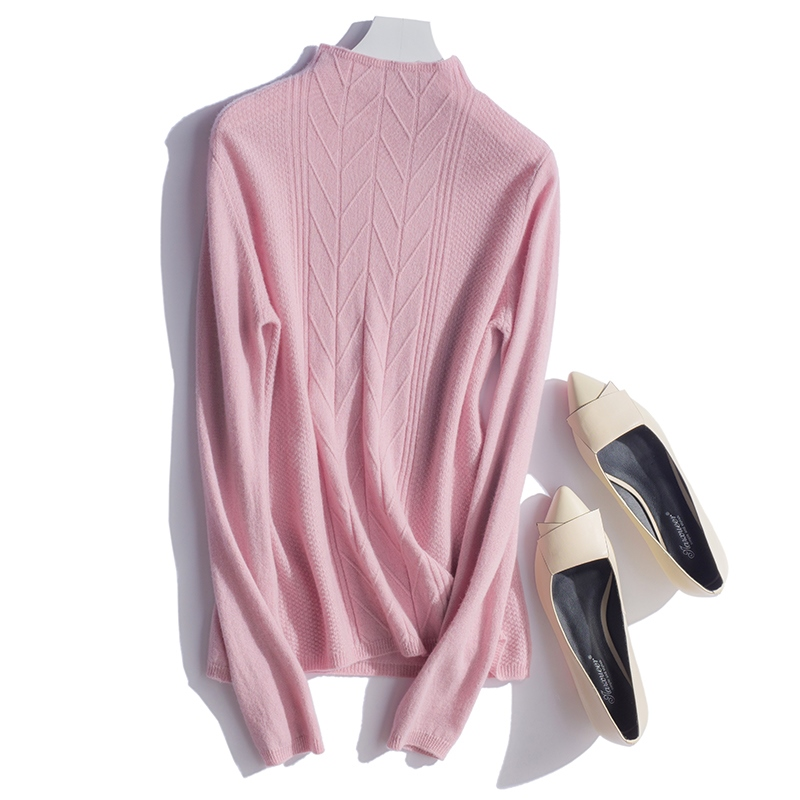 Chemise light Cachemire Haute Chaude black Tan gray Pull Qualité Dames Tricot Pur col Demi Beige En Montant Femme 2018 pink gA7qTBq
