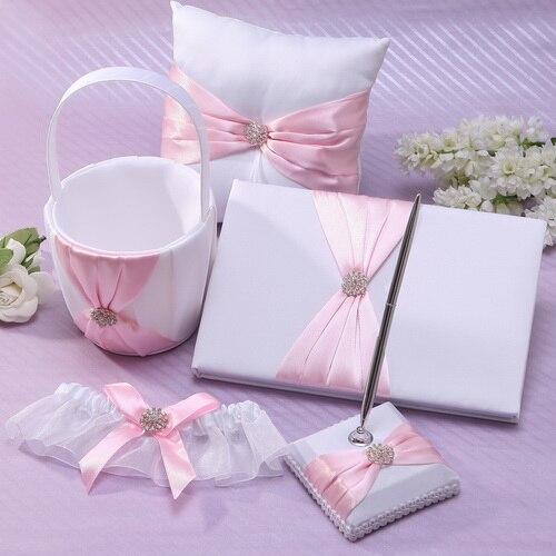 free shipping 5pcs set pink flower wedding guest book ring pillow and pen set flower basket. Black Bedroom Furniture Sets. Home Design Ideas