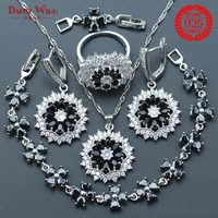 Black Zircon Silver 925 Necklace/Earrings/Pendants Sets For Women With Ring Bracelets For Fashion Wedding Jewelry Sets