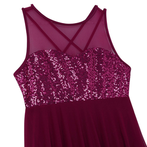 Image 4 - TiaoBug נשים ללא שרוולים פאייטים רשת בלט מחול בגד גוף למבוגרים התעמלות בגד גוף בלרינה ריקוד מסיבת בגד גוף שמלה