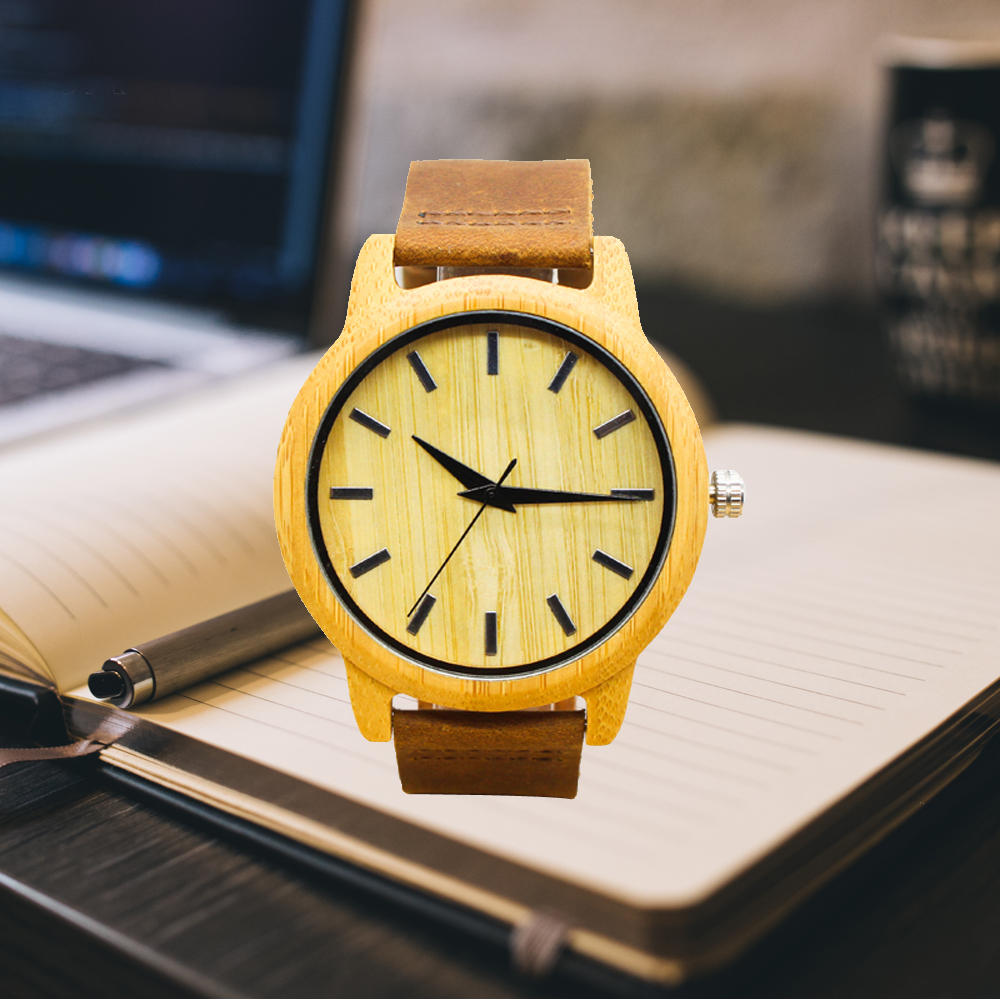 TJW wooden watch men top luxury brand genuine leather strap wrist watches for man clock brow color best gift for male