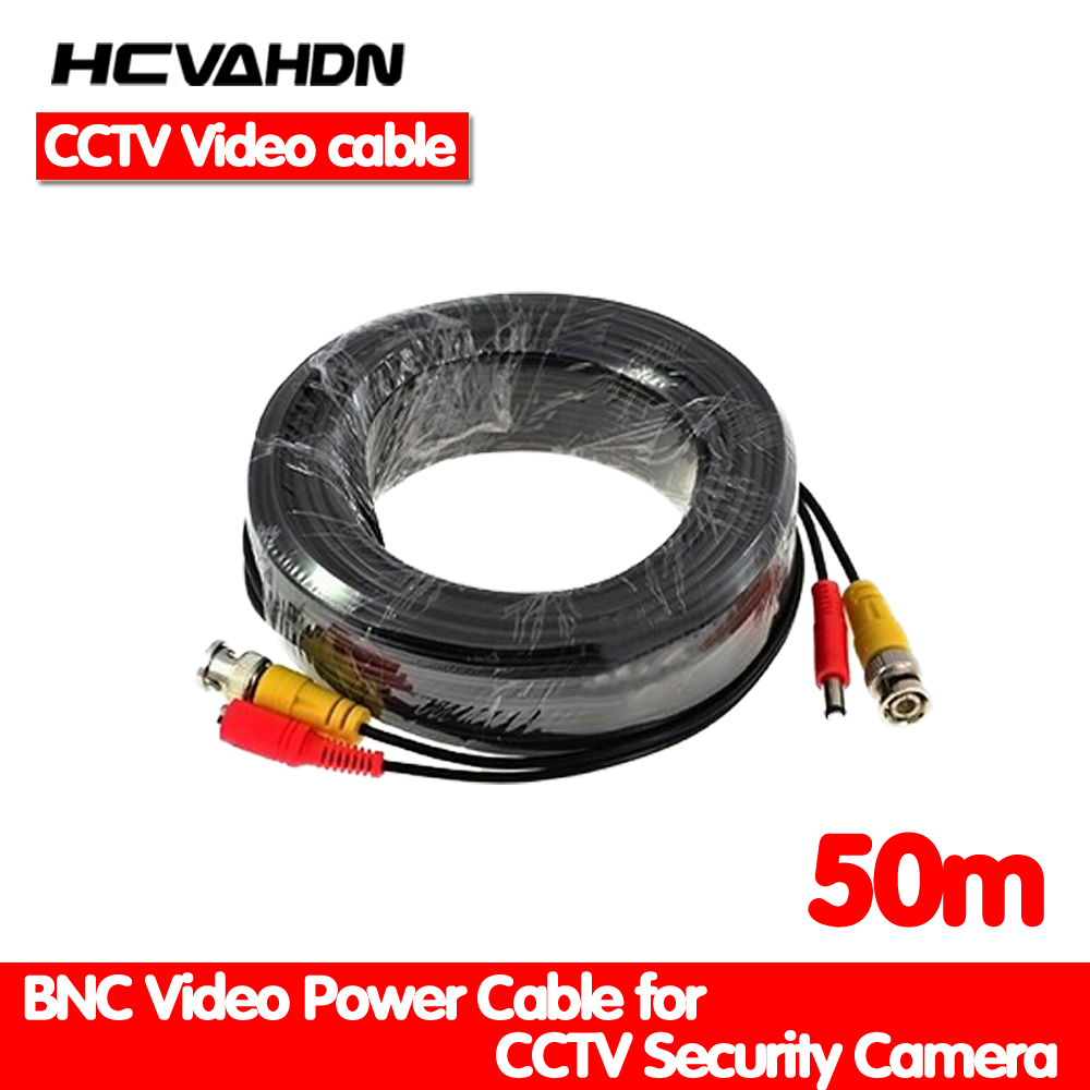 HCVAHDN 50m cctv cable Video Power Cable high quality BNC + DC Connector for CCTV Security Cameras Free Shipping