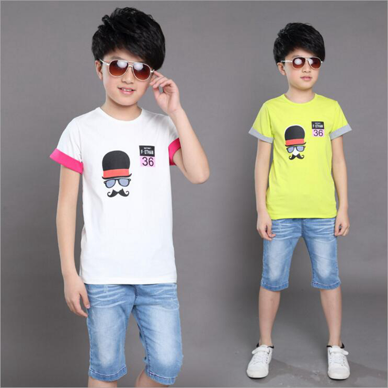 children clothing 2016 new summer causal boy suits 2pcs short sleeve O-neck cartoon print cotton T-shirt+jeans pants boys sets kids girls summer 2014 new o neck short sleeve floral sports suits fashion print cartoon clothing sets t shirts and pants h2691