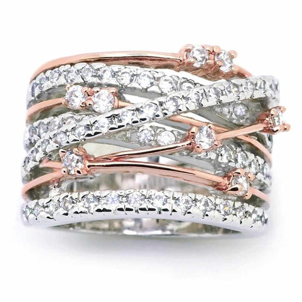 ใหม่ Rose Gold แหวนคริสตัล Rhinestone สำหรับสุภาพสตรีอุปกรณ์เสริมข้ามแหวนนิ้วเครื่องประดับของขวัญ