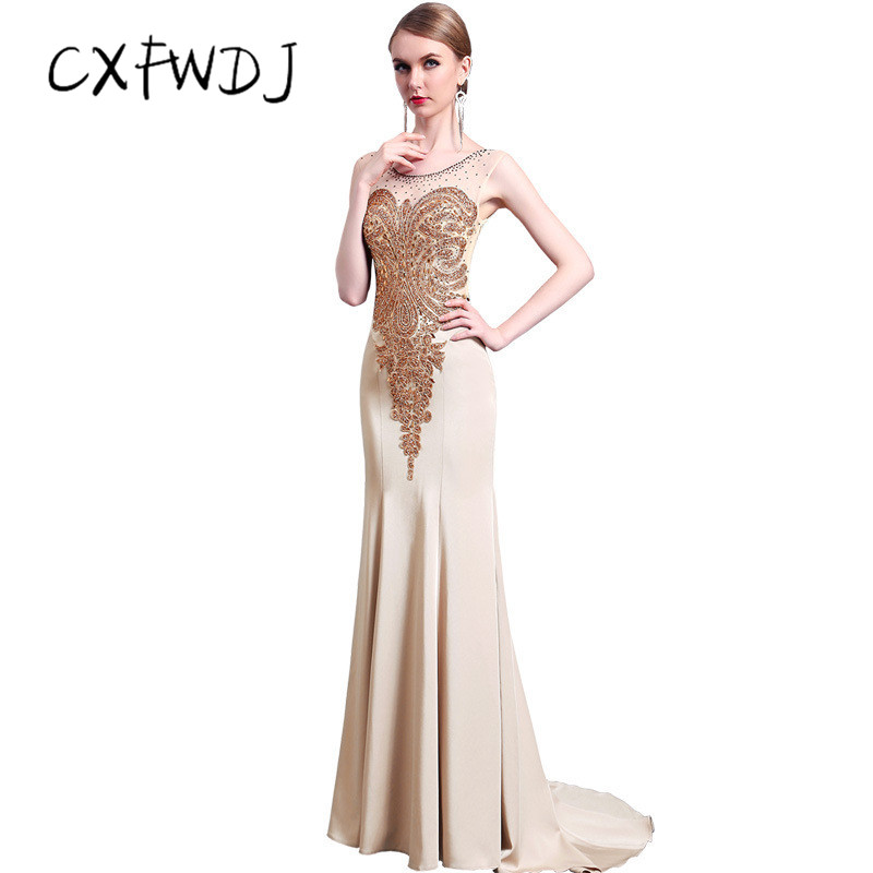 9152998bc12 2018 New High end Women s Evening Wear Dress Fashion Fish Tail Slim Fit  Noble Prom Party Champagne Satin Fabric Custom Made