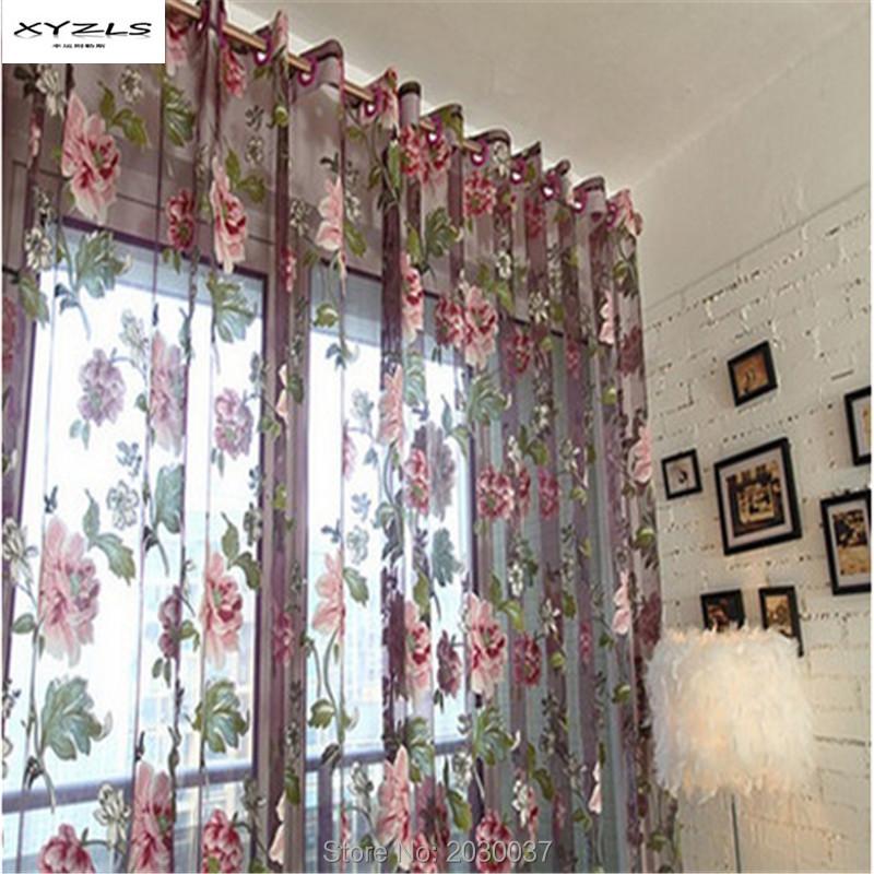 xyzls cortinas de lujo y noble purple tulle para de ventanas para saln cocina